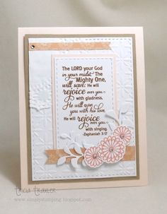 Handmade card by Tricia Traxler using the New Beginnings Tamp set and the Zephaniah 3:17 verse from the Scripture Medley 2 stamp set by Verve. #vervestamps #faithstamping