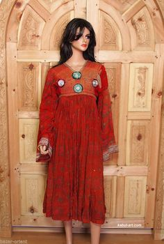 antik Afghanistan Kuchi Nomaden Kleid antique Woman nomadic embroidered Dress 35