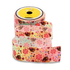 Printed Organza Ribbon Flower Floral 26mm x 1 yard