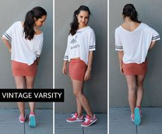 This is where you bust out those old jerseys or baseball tees that belonged to your bro or boyfriend, stretch out the neck a little bit and throw on your sneaks. This is a super comfy outfit perfect for a baseball game, bbq, or even a game of touch football.