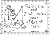 Fishers of men These are precious religious coloring pages with scripture! cute Thanksgiving as well! Bible Story Crafts, Bible Stories, Church Activities, Bible Activities, Catholic Kids, Kids Church, Sunday School Lessons, Sunday School Crafts, Preschool Bible
