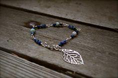 Silver Plated Leaf Bracelet with Sodalite & Kiwi Jasper by dgowin, $45.00