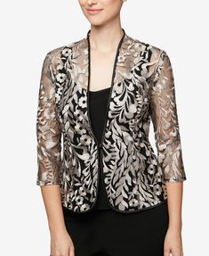Alex Evenings Black Womens Embroidered Jacket Top Set Top C Blazer Size Petite 10 (M) - Tradesy Dress Neck Designs, Designs For Dresses, Blouse Designs, Lace Blazer, Lace Jacket, Stylish Dresses, Fashion Dresses, Kurta Designs Women, Alex Evenings