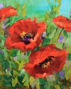 Play of Light Poppies by Texas Flower Artist Nancy Medina, painting by artist Nancy Medina