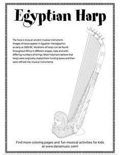 Learn about the ancient Egyptian harp in this fun, free coloring page. Perfect for studying music, world music, Egypt or ancient civilizations, Discover how old these instruments might be and what they were first modeled after. Teaching Kids, Teaching Resources, Music For Studying, Global Awareness, Map Skills, Music For Kids, World Music, Home Schooling, Free Coloring Pages