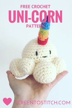 Free crochet pattern for a unicorn by Screen to Stitch!