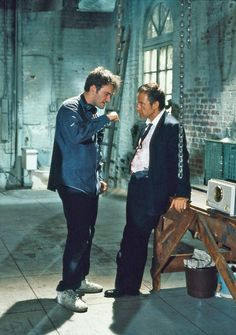 Quentin Tarantino and Harvey Keitel on the set of 'Reservoir Dogs', 1992.