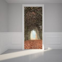 """Door Wall Sticker Tunnel of Trees - Self Adhesive Peel & Stick Repositionable Fabric Mural 31""""w x 79""""h (80 x 200cm): Amazon.co.uk: Kitchen & Home"""