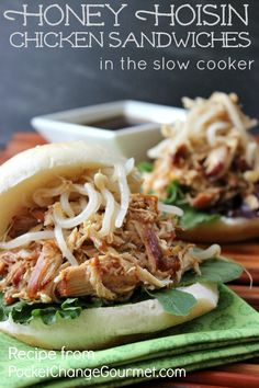 Low Unwanted Fat Cooking For Weightloss Honey Hoisin Chicken Sandwiches In The Slow Cooker Pocket Change Gourmet Best Slow Cooker, Slow Cooker Recipes, Crockpot Recipes, Chicken Recipes, Cooking Recipes, Yummy Recipes, Yummy Food, Tofu Recipes, Kitchen Recipes
