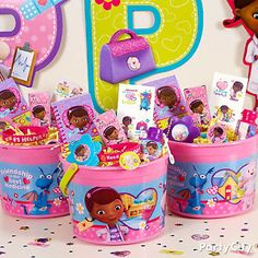 Game Prizes:::Reward your birthday girl's friends with buckets-of-friendship! Stuff Doc McStuffins favor containers with cool goodies the little docs will ♥! Doc Mcstuffins Cake, Doc Mcstuffins Birthday Party, 4th Birthday Parties, Girl Birthday, Doctor Mcstuffins, Birthday Ideas, Doctor Party, First Birthdays, Buckets