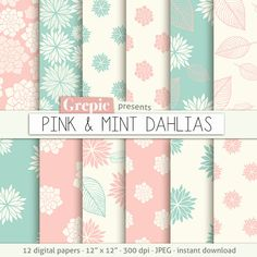 """Pink floral digital paper: """"PINK & MINT DAHLIAS"""" clip art pink floral patterns nature, sweet paper leaves pastel dahlia flowers background #clipart #bestofetsy"""