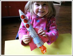 rocket ship and outer space crafts on this site. This one is made of aluminum foil and a paper towel roll. Preschool Rocket, Rocket Craft, Toddler Preschool, Craft Activities For Kids, Preschool Crafts, Projects For Kids, Crafts For Kids, Craft Ideas, Outer Space Party