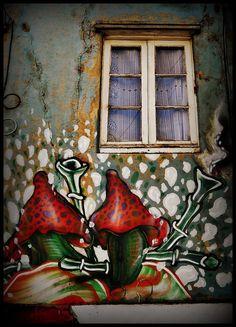 Valparaiso, Chile Best Street Art, Amazing Street Art, Murals Street Art, Street Art Graffiti, Window Handles, Unique Doors, Stencil Art, Modern Artists, Environmental Art