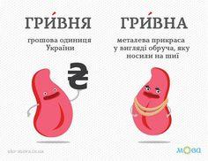 У повсякденному спілкуванні іноді плутають слова «гривна» і «гривня». Дехто, рахуючи гроші, каже: один гривень, дві гривни, дев'ять гривнів… Насправді слово «гривна» (прикраса) відмінюється, як іменник першої відміни твердої групи «весна». Назва української валюти «гривня» відмінюється, як іменник першої відміни м'якої групи «вишня», наприклад: дві гривні, вісім гривень, немає гривні, маю гривню, на гривні портрет Лесі Українки тощо.