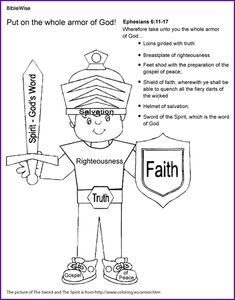 Armor Of God Printable Coloring Page Unique Coloring the Armor Of God Ephesians Kids Korner Biblewise Bible Activities, Bible Games, Children's Bible, Church Activities, Teaching Activities, Teaching Resources, Sunday School Lessons, Sunday School Crafts, Bible Study For Kids