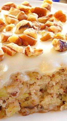 Easiest Pineapple Cake ~ It's incredible. a dense , moist, pecan, pineapple filled cake topped with a creamy cream cheese frosting. There is no oil or butter in cake. Easy Pineapple Cake, Pineapple Recipes, Pineapple Sheet Cake Recipe, Pineapple Frosting, Just Desserts, Delicious Desserts, Yummy Food, Baking Recipes, Cake Recipes
