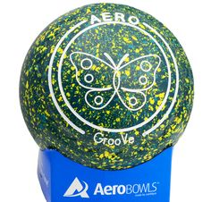 Aero GrooVe lawn bowl in Matilda color with butterfly logo.
