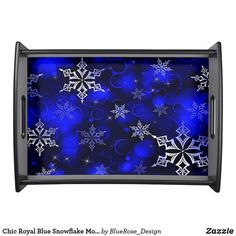Chic Royal Blue Snowflake Motif Serving Tray Holiday Cards, Christmas Cards, Christmas Decorations, Natural Wood Finish, Christmas Items, Holiday Treats, Christmas Card Holders, Keep It Cleaner, Snowflakes
