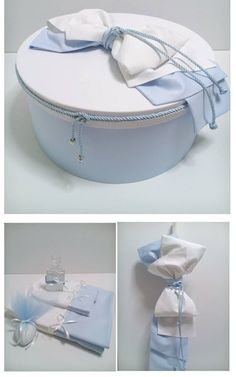 Christening Box - Round Size - cm Baby Blue plain base with plain white lid - Cotton Fabrics . Christening Decorations, Baby Birthday Cakes, Baby Box, Blue Towels, Baby Memories, Wedding Glasses, First Communion, White Fabrics, Blue And White