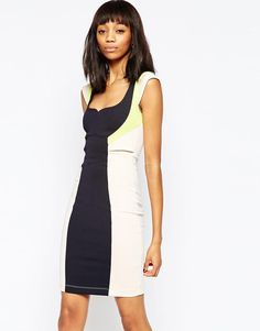 French Connection   French Connection Monreo Stretch Colourblock Dress at  ASOS