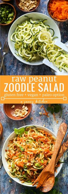 15 minute Raw Peanut Zoodle Salad with spiralized zucchini shredded carrots and a simple peanut dressing Gluten Free Vegan Paleo Option Raw Vegan Recipes, Vegan Gluten Free, Vegetarian Recipes, Healthy Recipes, Vegan Zoodle Recipes, Raw Vegan Dinners, Dairy Free, Free Recipes, Vegan Zucchini Recipes