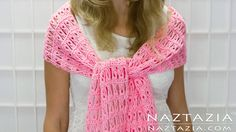 ✿ ❤ DIY Tutorial - How to Crochet Broomstick Lace Shawl Scarf Wrap - Right L...