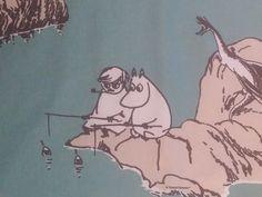 Luotomuumi  Moomin fabric cotton smooth turquoise by tillukka