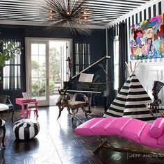 Peek Inside Kourtney Kardashian& Home - The Piano Room from Home Living, Living Spaces, Living Room, Modern Living, Living Area, Casa Kardashian, Kardashian Style, Jeff Andrews Design, Calabasas Homes