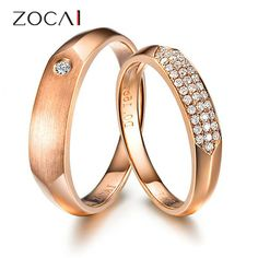 PAIR ZOCAI PAVE SETTING 0.17 CT H /SI DIAMOND HIS AND HERS WEDDING BAND RINGS SETS ROUND CUT 18K ROSE GOLD JEWELRY