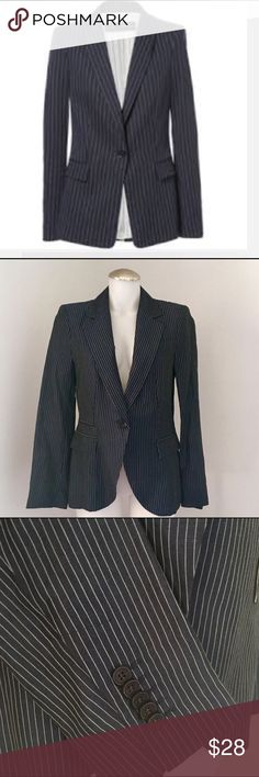 Zara Basic Women Navy Blue Pin Striped Blazer Zara Basic Women Navy Blue Pin Striped Blazer,size M. Used, worn once for a job interview. Excellent condition. 51 % linen, 49% viscose. Lining - 100 % viscose. The blazer is light-perfect for spring,summer.👖💄👠👓 Zara Basic Jackets & Coats Blazers