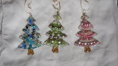 Beaded Christmas Tree Shaped Ornament by SparklesandWire on Etsy
