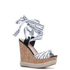 80a13eb430a ShoeDazzle Wedge Patsie Womens White Blue ❤ liked on Polyvore featuring  shoes