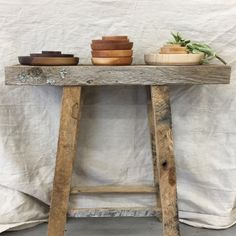 Reclaimed pallet wood stool and stacking bowls.