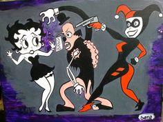 Betty Boop and Harley Quinn vs. a Zombie fanart - Sara Bovard