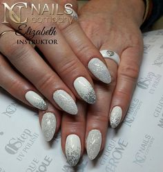 Crystal Pixie & Varnish hybrid white with a delicate silver glitter <3 <3 <3 by instructor Nails Company Elizabeth Pilarska