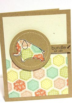 Quilted Elephant Baby Card. PTI. Happy Hexagons die and stamps