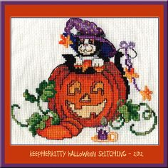 "This is the counted cross stitch I did for KeepHerKitty for Halloween. The pattern is from Donna Kooler's ""Seasons in Cross-Stitch"".  KeepHer likes it, but she wishes it looked more like her. :)~"
