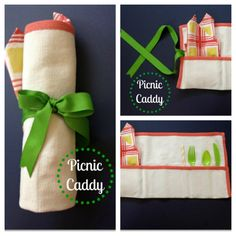 Super Easy Picnic Caddy!  Fold a placemat, sew pockets for silverware, straw, napkin, and trash bag (if wanted).  Add a ribbon for easy closure.  Roll up and tie!  Perfect for a summer picnic or a gift!