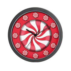 Peppermint Candy Christmas Christmas Wall Clock by CafePress. This Christmas design has a huge, gigantic peppermint candy on it What a sweet gift idea this makes for a Christmas Gift, or a unique gift for any time of year Give one to your sweetie Christmas Wall Clock Decorate any room in your home or office with our 10 inch wall clock. Black plastic case. Requires 1 AA battery included.. Price: $18.00