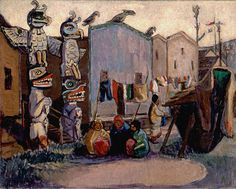 Emily Carr, Indian Village: Alert Bay oil on canvas [Beaverbrook Art Gallery collection] Tom Thomson, Canadian Painters, Canadian Artists, Totem Pole Art, Totem Poles, Emily Carr Paintings, Group Of Seven Paintings, Vancouver Art Gallery, House Painter
