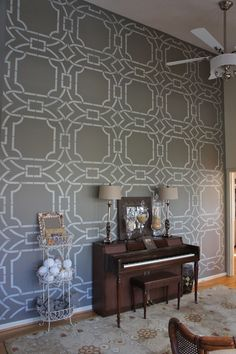 Graphic arts patterns just strike the perfect chord in a home! Here's a cool blog on all those faux-wonderful. Stenciled Wall by Bella Tucker Decorative Finishes