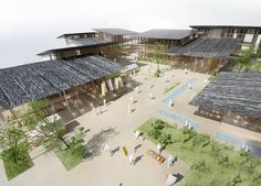 "Kengo Kuma & Associates have won the proposal for ""Tomioka City Hall"" Study Architecture, Chinese Architecture, Architecture Drawings, Futuristic Architecture, Landscape And Urbanism, Style Japonais, Kengo Kuma, Interesting Buildings, Urban Design"