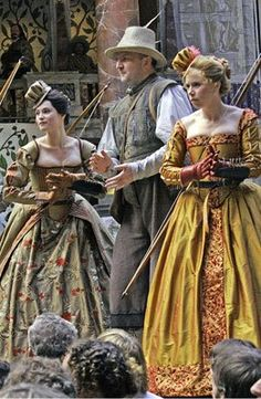 Shakespeare's 'Love's Labour's Lost' costumes from 2003. Look at the HATS!!! - Globe Theatre, Southwark