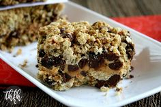 Vegan Gluten-Free Peanut Butter and Chocolate Chip Oat Bars...a healthier version and are vegan, gluten-free, flourless, dairy-free, egg-free, no refined sugar