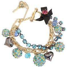Betsey Johnson Blue Lagoon Fireball Charm Bracelet ($88) ❤ liked on Polyvore