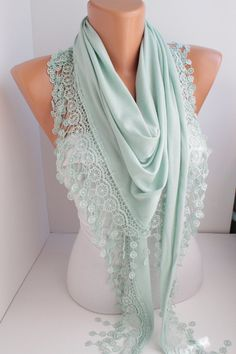 NEW  Light Mint  Jersey Scarf  Scarf  triangle scarf  by DIDUCI, $22.00