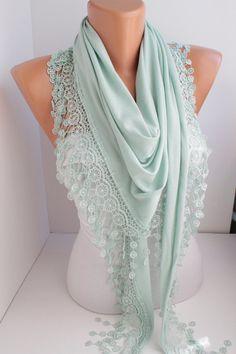 Green Pashmina Shawl/ Scarf Lace Scarf Lace Edge by DIDUCI
