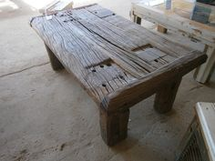 bench built out of old railroad ties home decor