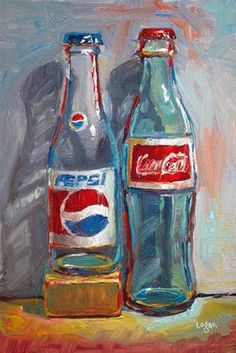 "Daily Paintworks - ""Pepsi and Coke"" - Original Fine Art for Sale - © Raymond Logan Painting Still Life, Still Life Art, Arte Hippy, Art Sketches, Art Drawings, Image Deco, Posca Art, Food Painting, Aesthetic Art"