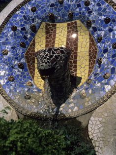 A Fountain Designed by Antoni Gaudi in Parc Guell in Barcelona ...